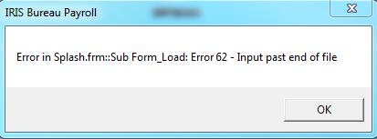 Error in splash.frm sub form load error 62 input past end of file