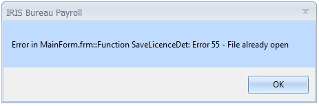 Error in Main Form frm Function save licence det error 55 file already open