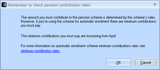 Remember to check pension contribution rates the amount you must contribute to thepension scheme is determined by the schemes rules however if you're using the scheme for automatic enrolment there are minimum contributions you must pay the minimum contributions you must pay are increasing from April