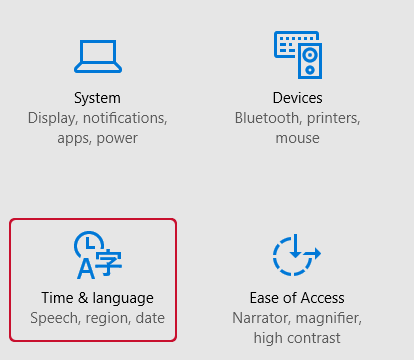 Windows 10 Time and language