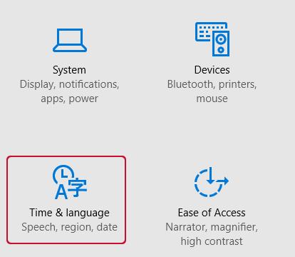Windows 10 Time and language
