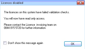 licence disabled,72 hours, read only