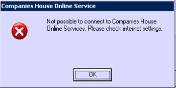 Not Possible to connect to Companies House Online Services, check internet settings, CHOS Error