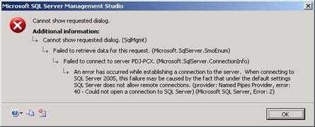 Failed to connect to server error 40 error 2, SQL Backup Error