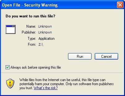 Internet Explorer, Publisher, Verified, IE7, Open File, Security Warning