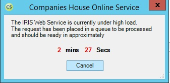 under high load, companies house online service