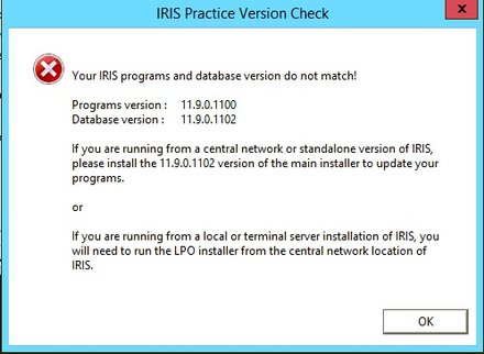 Your IRIS Programs and database Version do not match