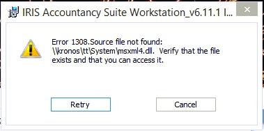 error 1308. Source file not found