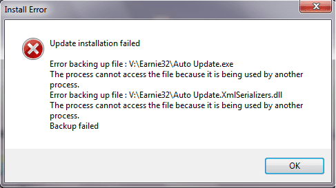 update installation failed error backing up file auto update.exe the process cannot access the file because it is being used by another process error backing up file xmlserializers.dll back up failed