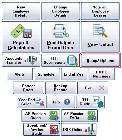 Location of Setup/Options
