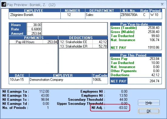 NI Adjustment bureau payroll payroll business