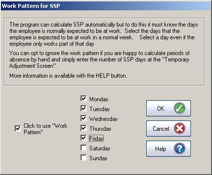 GP Payroll Work pattern for SSP