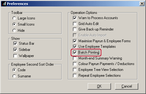 location of batch printing option in operator preferences