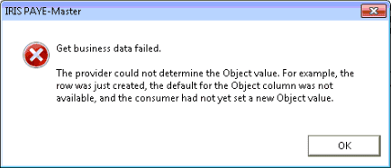 get business data failed the provider could not determine the object value for example the row was just created the default for the object column was not available and the consumer had not yet set a new object value