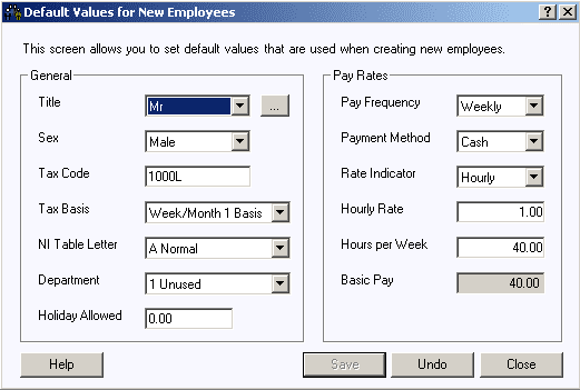 Default values for new employees