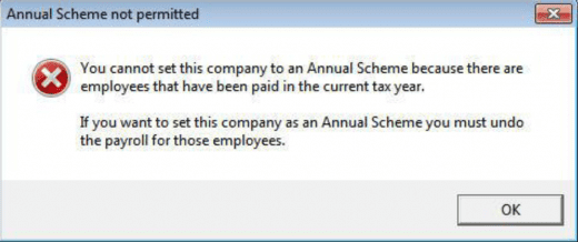 you cannot set this company to an annual scheme because there are employees that have been paid in the current tax year
