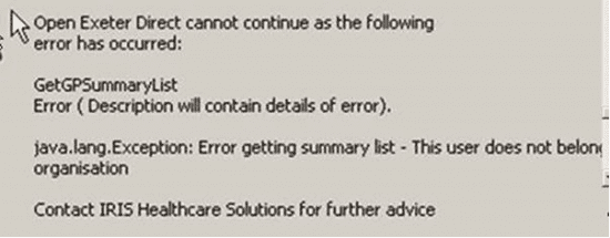 getgpsummarylist java.lang.exception error getting summary list this user does not belong to this organisation