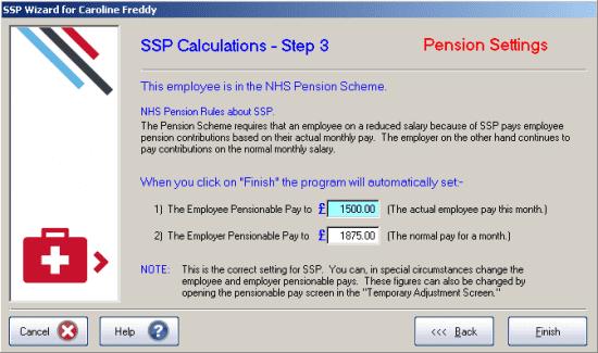 GP Payroll SSP Calculations Step 3 - Pension settings