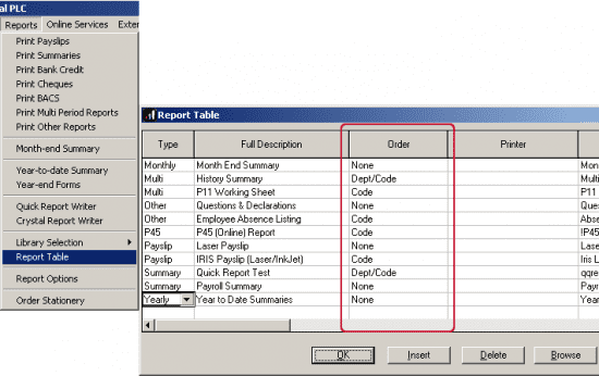 setting the sort order of reports from the report table