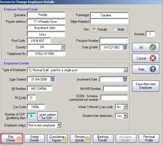 GP Payroll Employee details screen