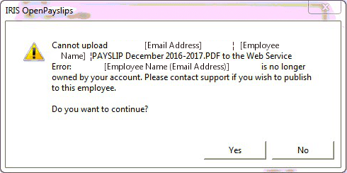 cannot upload to the web service error is no longer owned by your account please contact support if you wish to publish to this employee do you want to continue