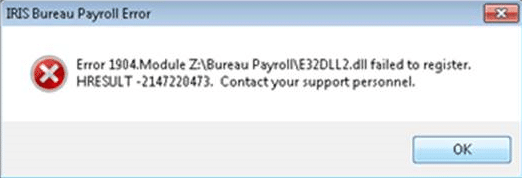 Error 1904 module e32dll2.dll failed to register HRESULT 2147220473 contact your support personnel