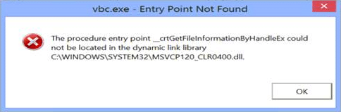 vbc.exe entry point not found the procedure entry point could not be located in the dynamic link library MSVCP120_CLR0400.dll
