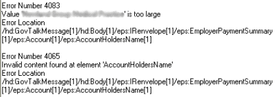 4083 value is too large account holder name 4065 invalid content found at element