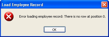 Error loading employee record there is no row at position 0