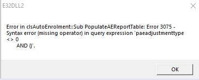 Error 3075: Syntax Error