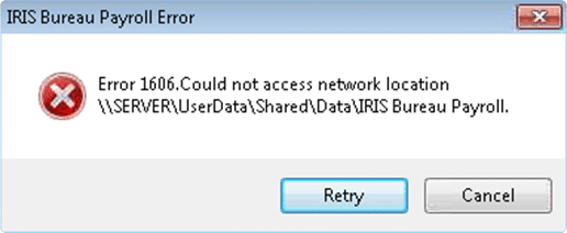Error 1606. Could not access network location