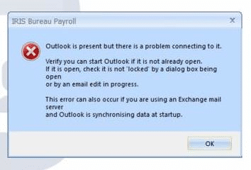 Outlook is present but there is a problem connecting to it.  Verify you can start Outlook if it is not already open.   If it os open, check it is not locked by a dialog box being open or by an email edit in progress  This error can occur if you are using an Exchange mail server and Outlook is synchronising data at startup