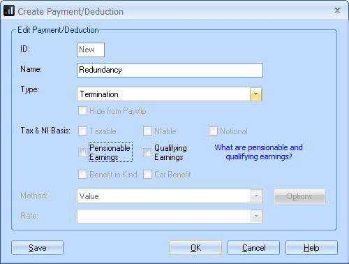 configuring a pay element for new termination payment